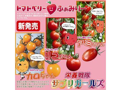 ミニトマト トマトベリーファミリー 栄養戦隊サプリガールズ アミちゃん、カロちゃん、リコちゃん