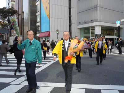 神田愛知県知事らが銀座でフラワーウォーク。愛知の花をアピール
